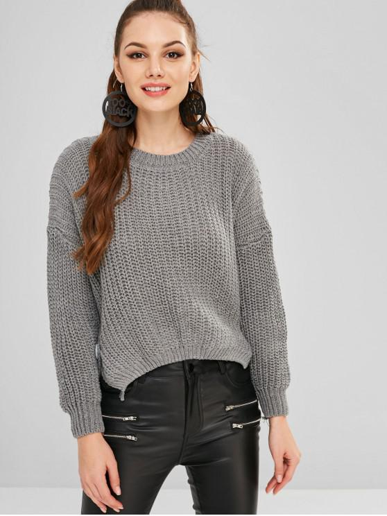ladies Button Embellished High Low Chunky Sweater - DARK GRAY ONE SIZE