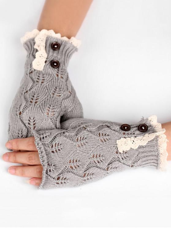 unique Winter Buttons Lace Fingerless Gloves - LIGHT GRAY