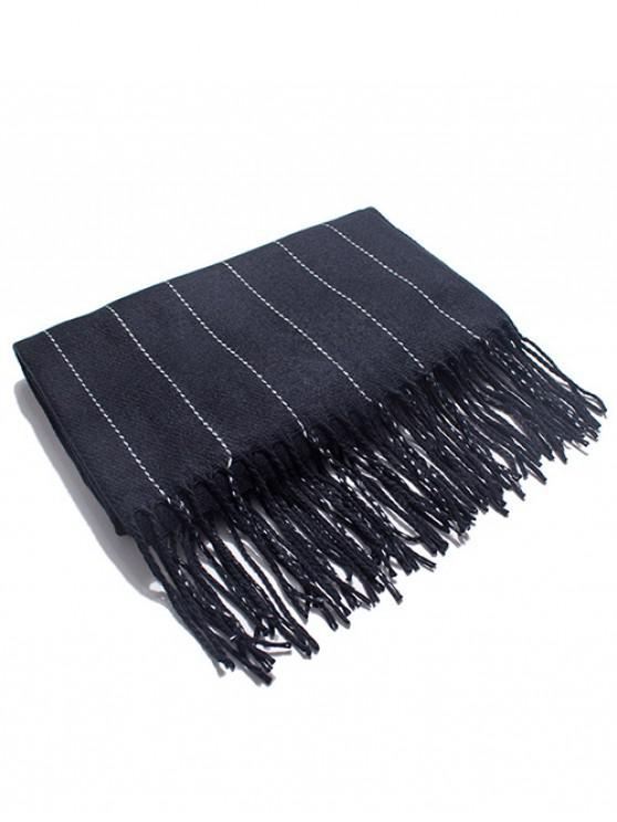 latest Retro Striped Fringed Long Scarf - BLACK