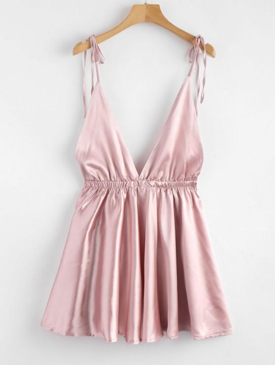 unique Backless Satin Tie Shoulder Pajama Dress - PINK S