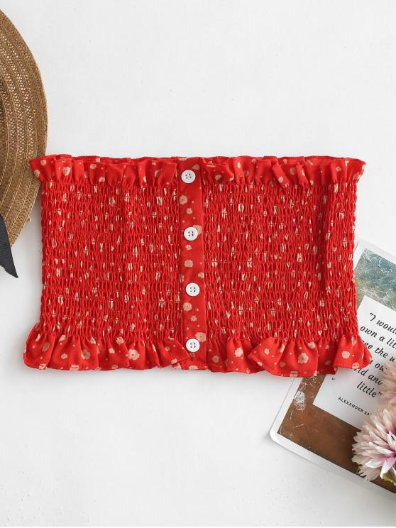 fancy Floral Print Bandeau Smocked Tube Top - ROSSO RED S