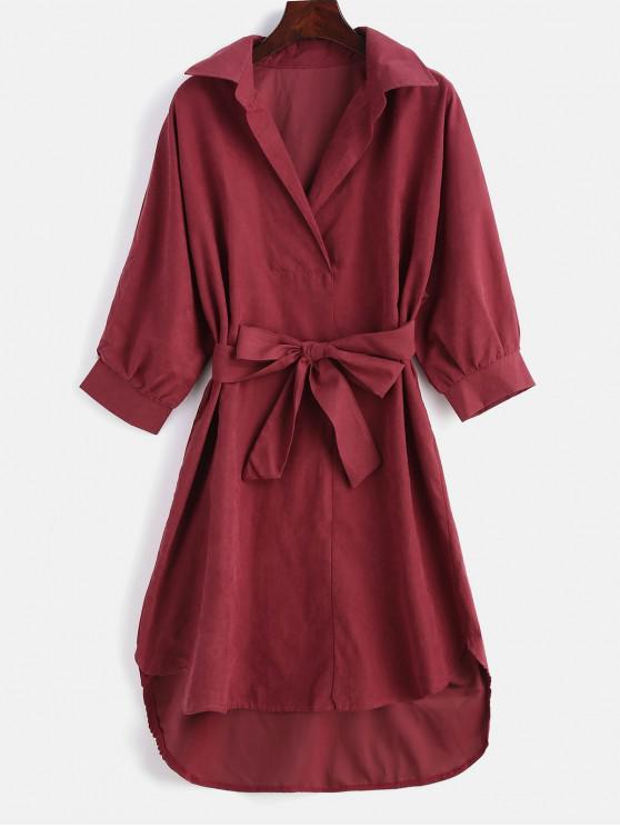 Vestido de alta baixa com cinto - Vermelho 2XL