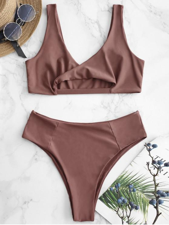 latest ZAFUL Twisted Cutout Bralette Bikini Set - LIPSTICK PINK L