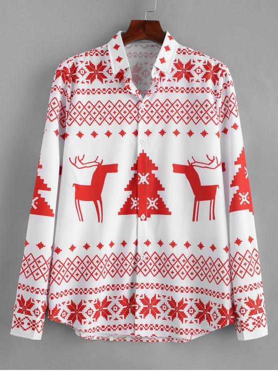 women's Long Sleeve Christmas Geometry Pattern Shirt - RED 2XL