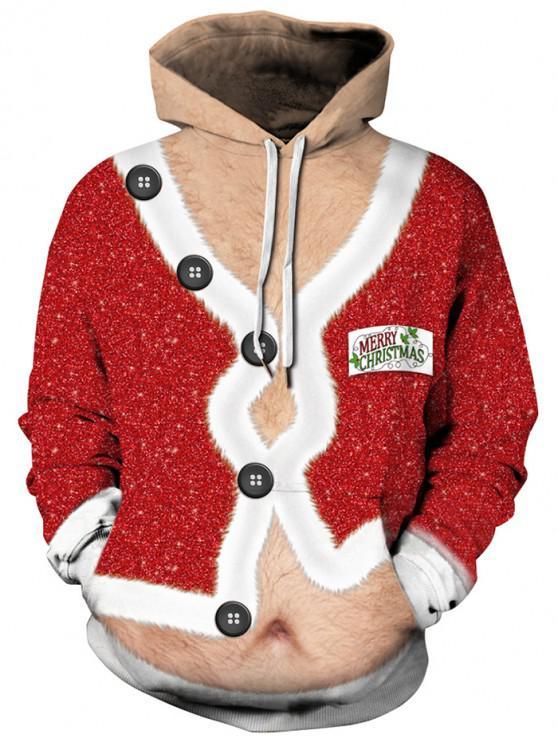 new Christmas Coat Print Drawstring Hoodie - MULTI 3XL