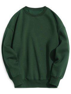 Pullover Fleeced Sweatshirt - Deep Green M