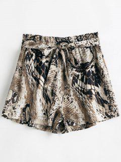 Snakeskin Print Belted Wide Leg Shorts - Multi L