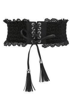 Solid Color Lace Elastic Dress Belt - Black