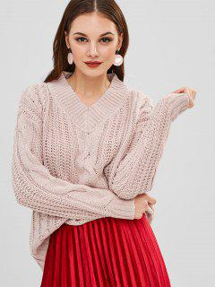 Chunky Cable Knit V Neck Oversized Sweater - Pig Pink