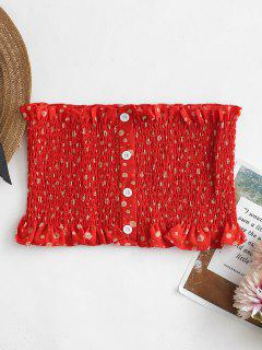Floral Print Bandeau Smocked Tube Top - Rosso Red M