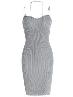 Ribbed Knit Bodycon Cami Dress - Gray Cloud