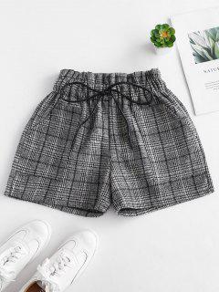 Pantalones Cortos A Cuadros De Cintura Elástica - Multicolor S