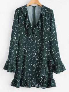 Mini Vestido De Manga Larga Con Volantes Florales - Verde De Bosque Oscuro M