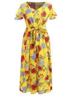 Robe Fendue Fleurie à Epaule Dénudée De Grande Taille - Multi 4x