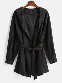 Manteau à Capuche Enveloppé De Grande Taille - Noir 4x