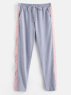 Contrast Casual Sport Drawstring Pants - Gray M