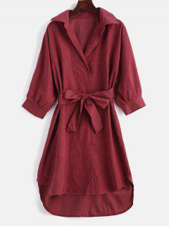 High Low Belted Shift Dress - Red L