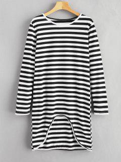 Vestido De La Camiseta De Rayas Asimétricas - Multicolor Xl