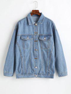 Button Up Drop Shoulder Jean Jacket - Jeans Blue M