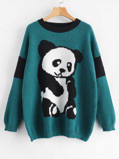 Pull Surdimensionné Graphique Panda Jacquard - Turquoise Foncée