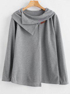 Camiseta De Punto De Manga Larga Con Cuello Vuelto - Gris L
