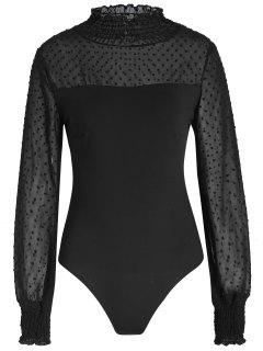 Mesh Sheer Long Sleeve Bodysuit - Black Xl