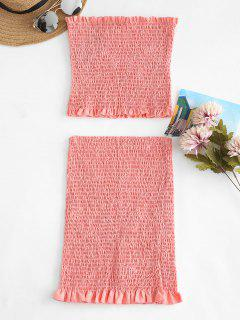 Smocked Bandeau Top Tube Skirt Two Piece Set - Light Pink S