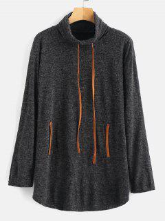 Suéter Con Cuello Redondo Y Túnica De Cuello Alto - Gris Oscuro M