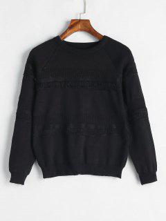 Trimmed Raglan Sleeve Sweater - Black