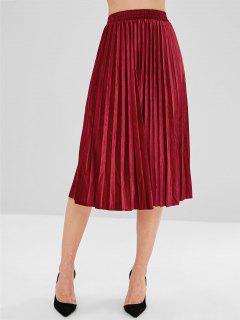 Pleated Velvet A Line Skirt - Red
