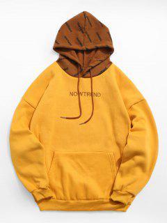 Contrast Letter Fleece Hoodie - Yellow L