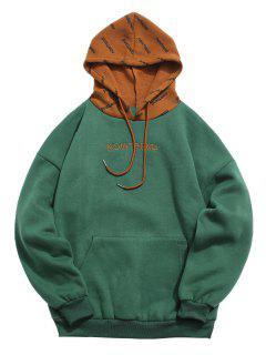 Contrast Letter Fleece Hoodie - Deep Green 2xl