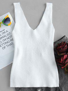 Camiseta Sin Mangas Con Cuello En V Doble Acanalado - Blanco
