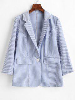 Single Button Striped Blazer - Pastel Blue M