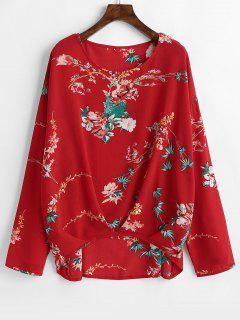 Pleated Floral High Low Blouse - Red Xl