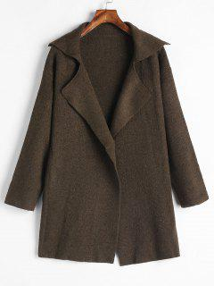Lapel One Button Sweater Coat - Coffee