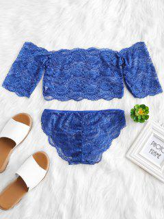 Conjunto De Pantalón Y Top Con Encaje En El Hombro - Azul De Arándanos