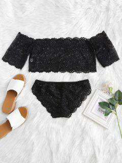 Lace Off The Shoulder Top And Panty Set - Black