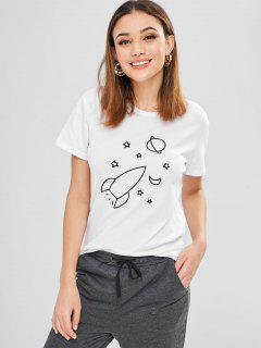Camiseta De Manga Corta Con Estampado De Aeronave - Blanco Xl
