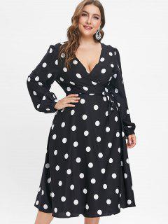 Long Sleeve Plus Size Polka Dot Wrap Dress - Black 4x