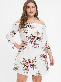 Flower Print Plus Size Mini Dress - White 2x