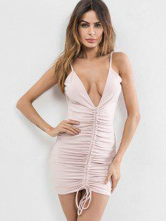 Low Cut Cinched Bodycon Dress - Sakura Pink M