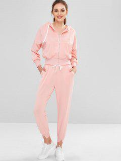 Survêtement Veste Zip Up Joggers Pants - Rose Léger M