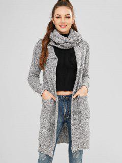 Cowl Neck Marled Cardigan With Pocket - Gray