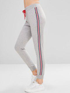 Drawstring Contrast Side Jogger Sport Pants - Light Gray L