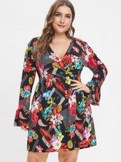 Plus Size Flower Print Flare Sleeve Dress - Multi 2x