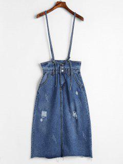 Ripped Jean Suspender Skirt - Blue S