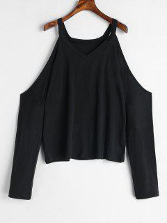 Open Shoulder T-shirt - Black L