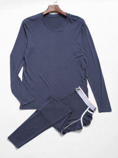 Conjunto De Pantalones De Camiseta De Ropa Interior Térmica - Azul De Seda L