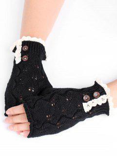 Winter Buttons Lace Fingerless Gloves - Black